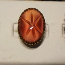 Huge Vintage Czech W German Pink Star Sapphire Glass Cabochon Ring - $36.00