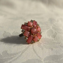 Huge Vintage Czech W German Pink Star Sapphire Glass Cabochon Ring - $32.00