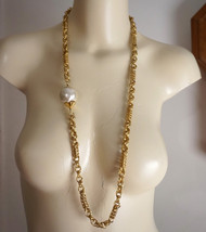 Vintage Chunky Goldtone Faux Pearl Asymmetrical Runway Necklace - $55.00