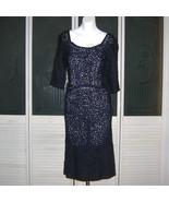Vintage 30s 40s Ribbon Tape Lace Sheath Wiggle Bombshell Dress Navy Blue - $170.00