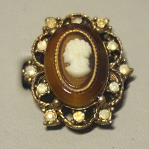 Huge Vintage Czech Rhinestone Tortoise Cameo Glass Cabochon Ring - $30.00