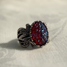 Huge Vintage Goth Renaissance Revival Dragons Breath Glass Cabochon Ring - $48.00