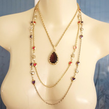 Upcycled Vintage Etruscan Faux Amethyst Pearl Heart Assemblage Necklace - $100.00