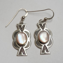 Sterling Silver Southwestern Mother of Pearl Dangle Earrings CG - $55.00