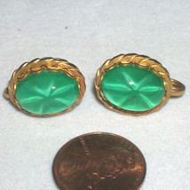 Vintage Green Star Sapphire Glass Stone Earrings Holiday Prom Jewelry - $22.00