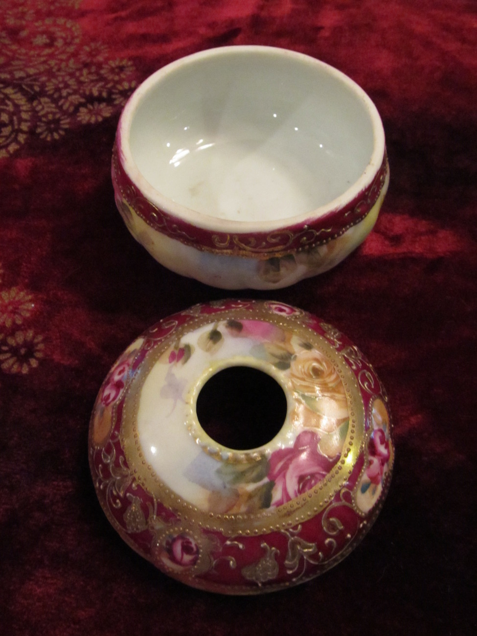 Hand Painted Nippon Hair Receiver with Roses, Enameling, Gilding & Gold Beading