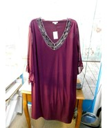 Est 1946 Plum Plus Size 22/24W 3/4 Sheer Sleeves NWT - $17.81