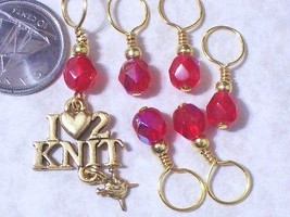 knitting stitch markers, pewter knitting charm, choice of colours - $8.99