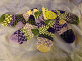 Multicolor Mismatched Baby Socks  12 to 24 Months yellow purples color