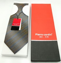 Vintage Pierre Cardin New Nos Diagonal Stripes Tie Gift Box 4x59 Brown Disco - $29.69