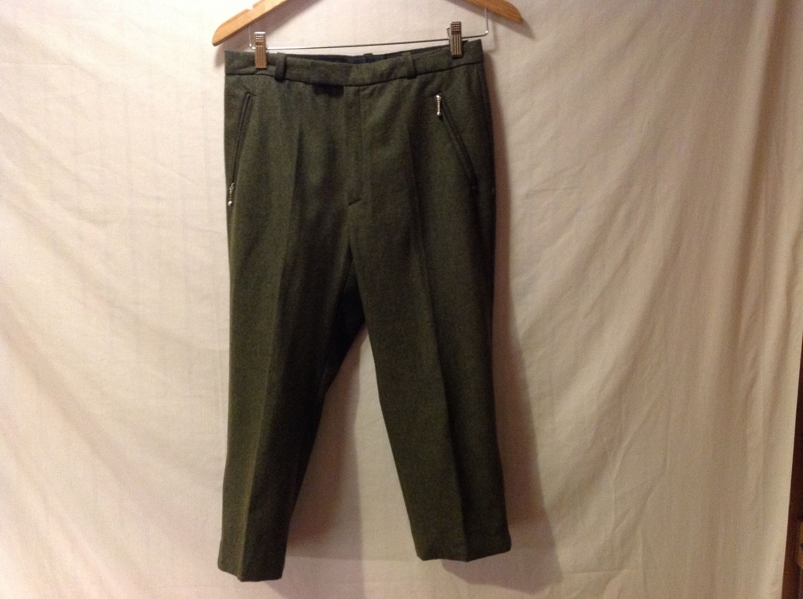 Henry Ours Paris Womens Olive Green Wool Capris  Size 38