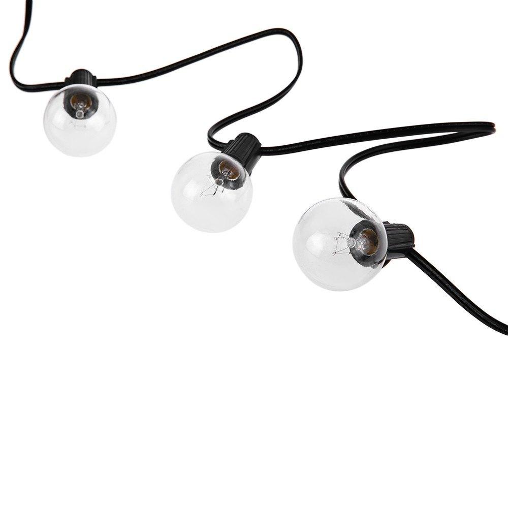 E12 G40 LED String Lights with 25 Globe Bulbs Backyard Lighting Updated Energy-E