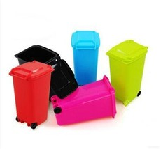 Mini Wheelie Bin Desk Tidy Office Desktop Stationery Organiser Pen Penci... - $9.69