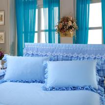 2pcs/lot Solid Color Pilow Cover Lace Edge pillowcase rectangle white co... - $38.60