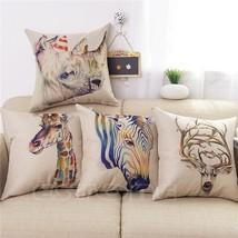 Retro Print Linen Animals Cushion Throw Pillow Case - $11.68