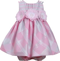 Baby Girls 3M-24M Pink Silver Metallic Plaid Triple Strap Dress,Bonnie Jean