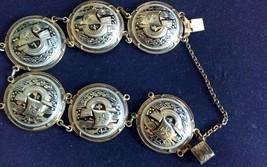 Vintage Gold & Black  Spanish Galleon Toledoware Link Bracelet - $33.66