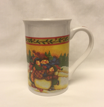 Royal Norfolk Christmas mug tall coffee cup children hugging snowman - $2.00