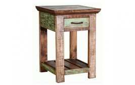 Quality Rustic Multi Color Louvered Cabana Series Living Room End Table - $282.15