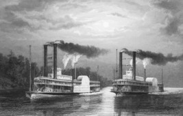 STEAMSHIPS RACE on Mississippi - CIVIL WAR Era Print - $39.60