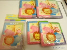 Baby Shower Zoo Pink Blue Napkins Invitations Decoration Lion Jungle Lot Pack NW - $19.75