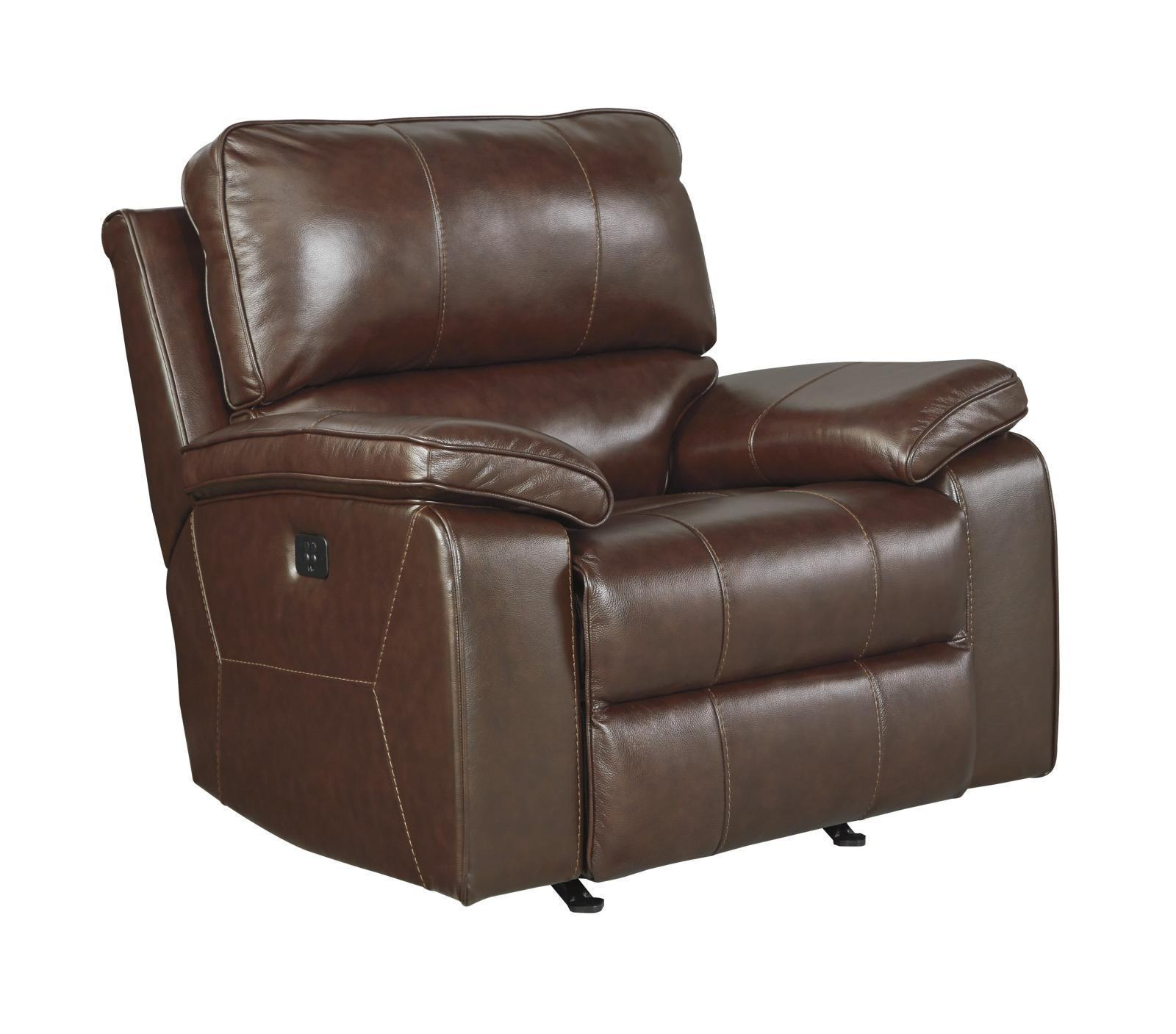 Ashley Transister Living Room Power Rocker Recliner in Coffee Contemporary