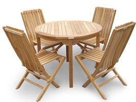 "Genuine Grade A Teak,39"" Round Table/38lbs w/ 4 Folding Teak Chairs w Lumbar ... - $1,695.00"