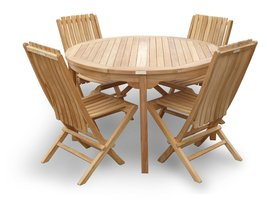 "Genuine Grade A Teak,47"" Round Table/45lbs w/ 4 Folding Teak Chairs w Lumbar ... - $1,795.00"