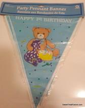 Banner 1st Birthday First Party Garland Birthday Decoration Poster Blue Bear Boy - $8.85