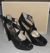 MICHAEL KORS black Kinkade platform heels - lea... - $69.99