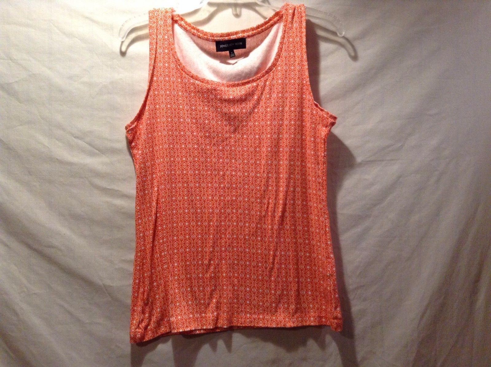Great Condition Jones New York Medium Orange White Floral Sleeveless Shirt