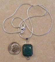 beautiful! REAL EMERALD sterling silver necklace SJ114-170-1 - $32.99