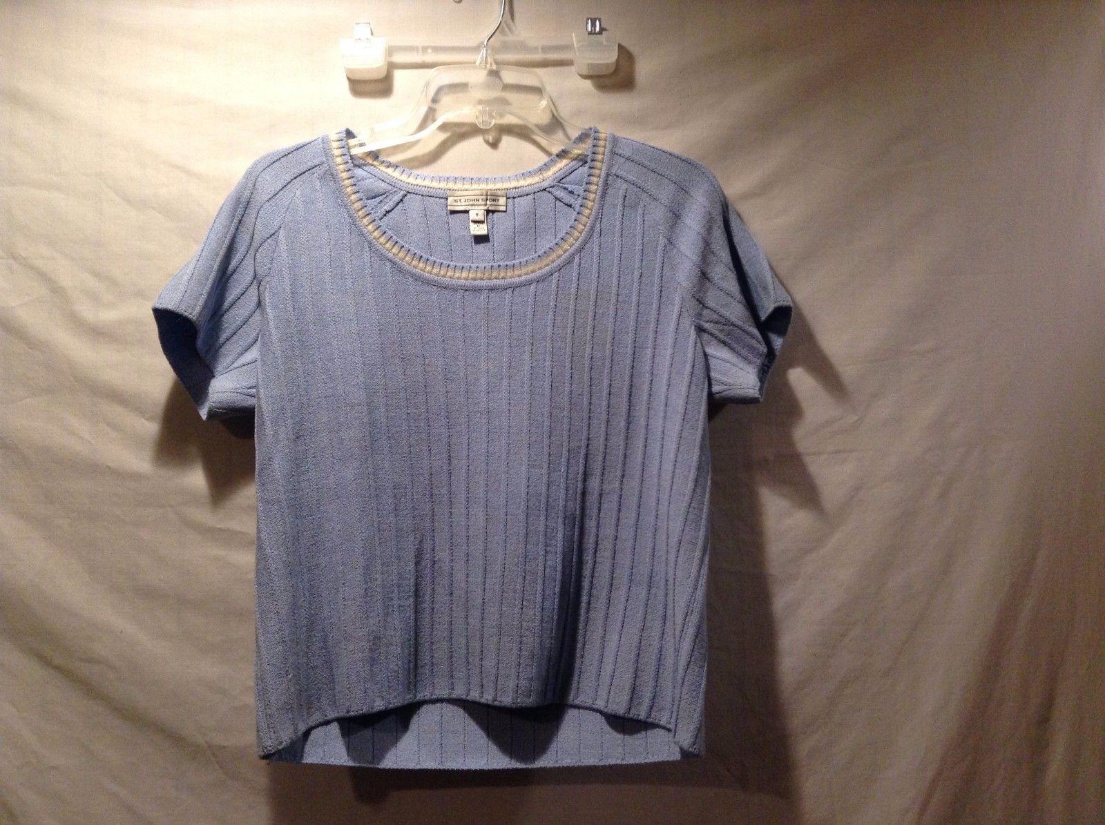 Great Condition St. John Sport Small Wool Blend Blue White Tan Collar Shirt