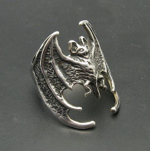 R000492 Stylish STERLING SILVER Ring Solid 925 Bat Vampire Biker