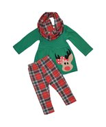 Unique Baby Girls 3 Piece Christmas Rudolph Legging Set (6) Red - $24.99