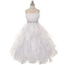 White Ruched Top with Ruffled Skirt Flower Girl Birthday Pageant Wedding Dresses - $64.00