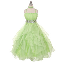 Lime Green Ruched Top with Ruffled Skirt Flower Girl Birthday Prom Weddi... - $64.00