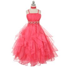Coral Ruched Top with Ruffled Skirt Flower Girl Birthday Pageant Wedding Dresses - $64.00
