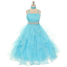Aqua Ruched Top with Ruffled Skirt Flower Girl Birthday Pageant Wedding Dresses - $64.00