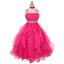Fuchsia Ruched Top with Ruffled Skirt Flower Girl Birthday Pageant Wedding Dress - $64.00