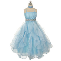 Blue Ruched Top with Ruffled Skirt Flower Girl Birthday Pageant Wedding Dresses - $64.00