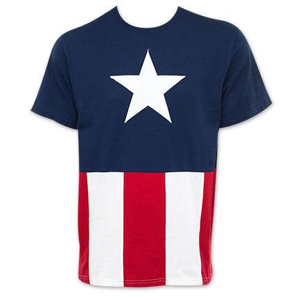 Captain america stitched costume teeshirt2