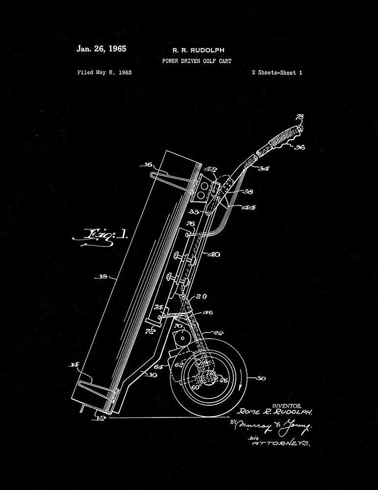 Power Driven Golf Cart Patent Print - Black Matte for sale  USA