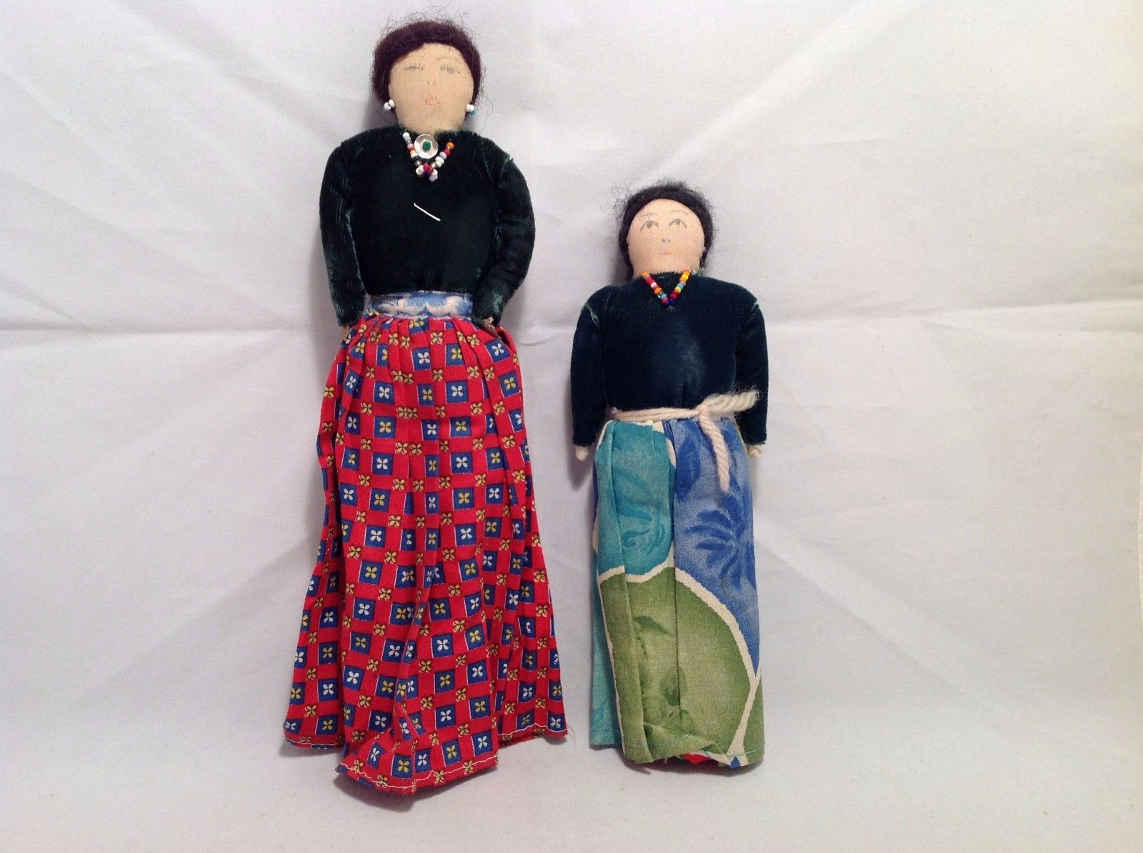 Vintage hand made two sisters primitive dolls