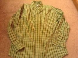 casual Dress Shirt Mens sz m green carhartt plaid  euc cotton button down - $14.68