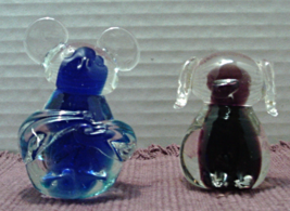 Vintage Blue & Purple  Art Glass Hand Blown Paperweights // Dog // Mouse - $16.00