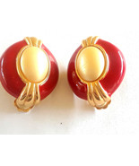 Gorgeous SIgned Ginnie Johansen Red Enamel Faux Pearl Clip on Earrings - $15.00