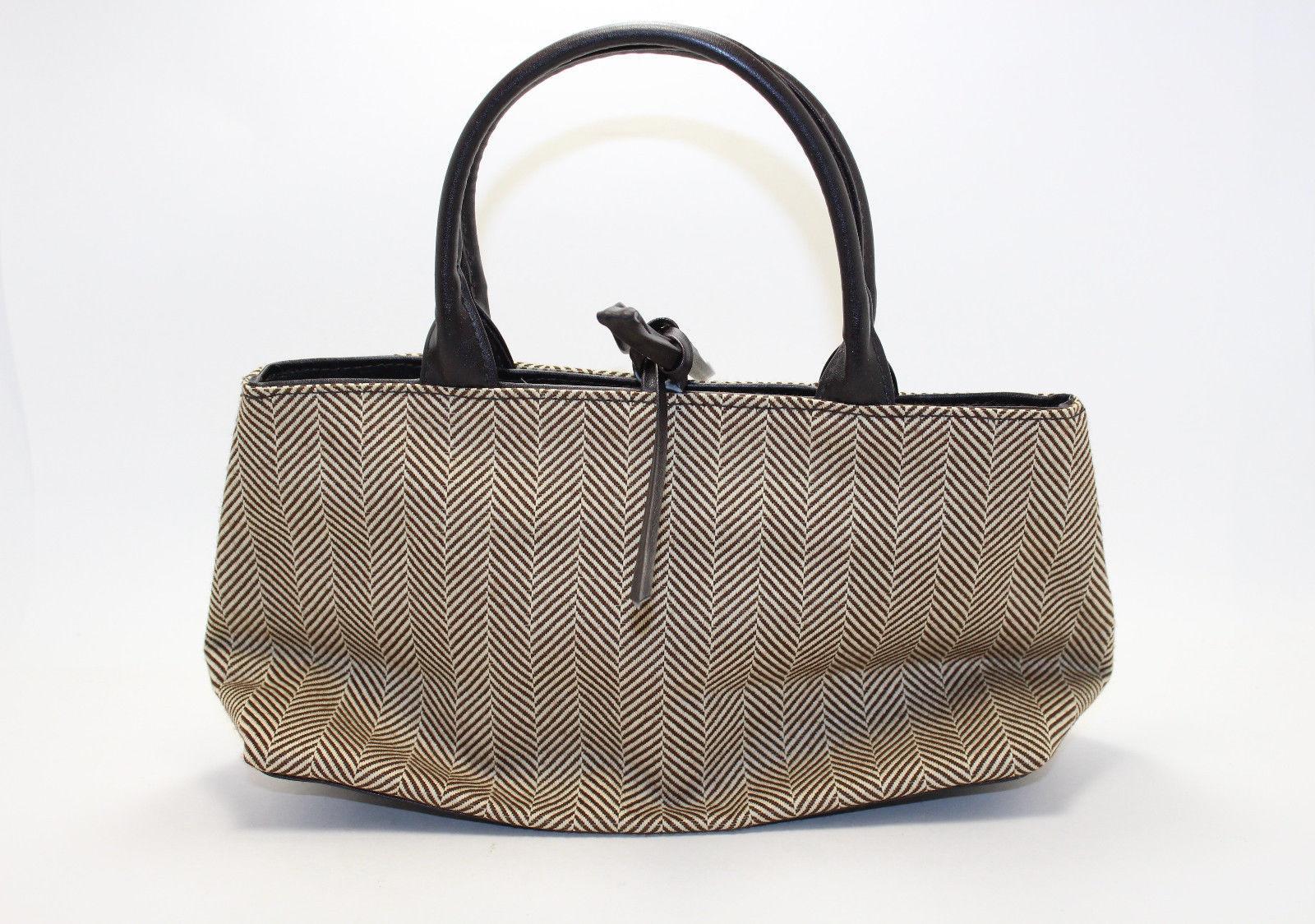 Estee Lauder Brown Beige Zig Zag Cosmetic Bag with Handles - $19.80