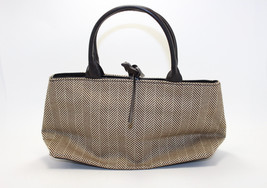 Estee Lauder Brown Beige Zig Zag Cosmetic Bag with Handles - $19.80