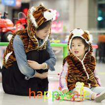 Adult/Kids Tiger Hooded Vest Plush Fluffy Warm Jacket Best Halloween Gif... - $9.99